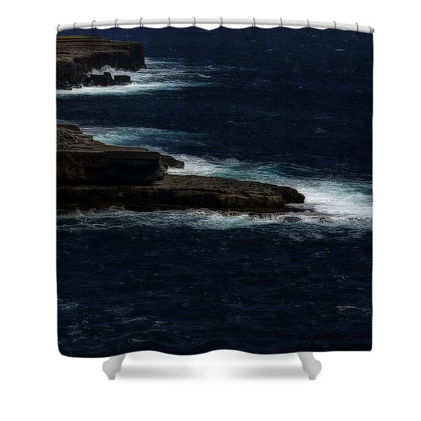 Ireland Inishmore Aran Island Coastal Landscape Shower Curtain