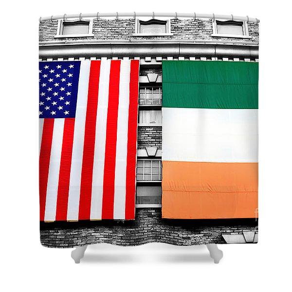 Irish American Flags Fusion Shower Curtain
