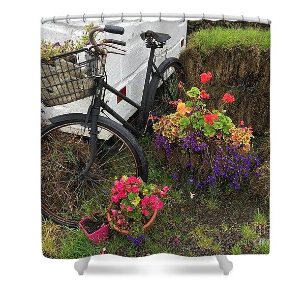 Irish Bike And Flowers Shower Curtain