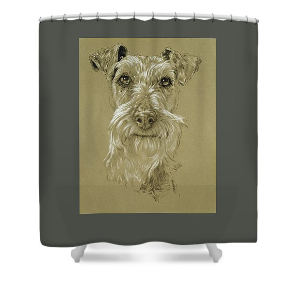 Shower Curtain featuring the drawing Irish Terrier by Barbara Keith