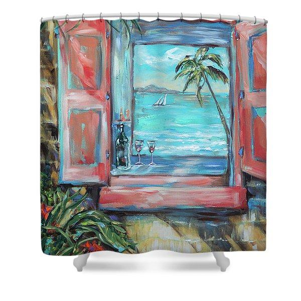 Island Bar Coral Shower Curtain