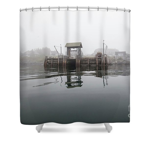Island Boat Dock Shower Curtain