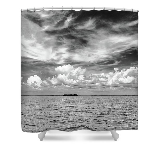 Island, Clouds, Sky, Water Shower Curtain