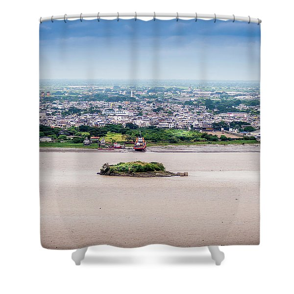 Island In The River Shower Curtain