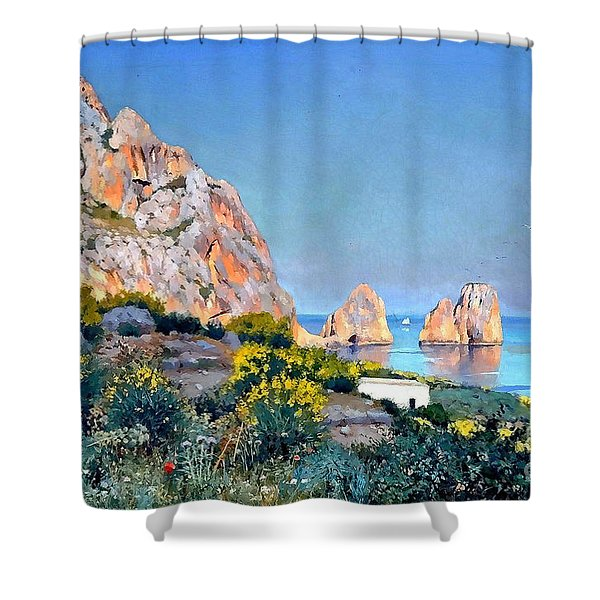Shower Curtain featuring the painting Island Of Capri - Gulf Of Naples by Rosario Piazza