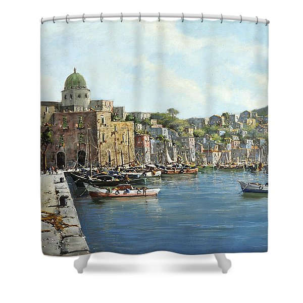 Shower Curtain featuring the painting Island Of Procida - Italy- Harbor With Boats by Rosario Piazza