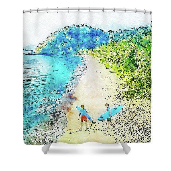 Island Surfers Shower Curtain