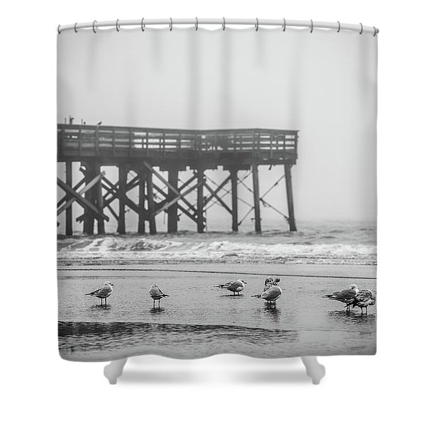 Isle Of Palms Pier And Fog Shower Curtain