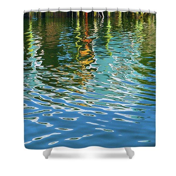 Isleford Dock Reflection Shower Curtain