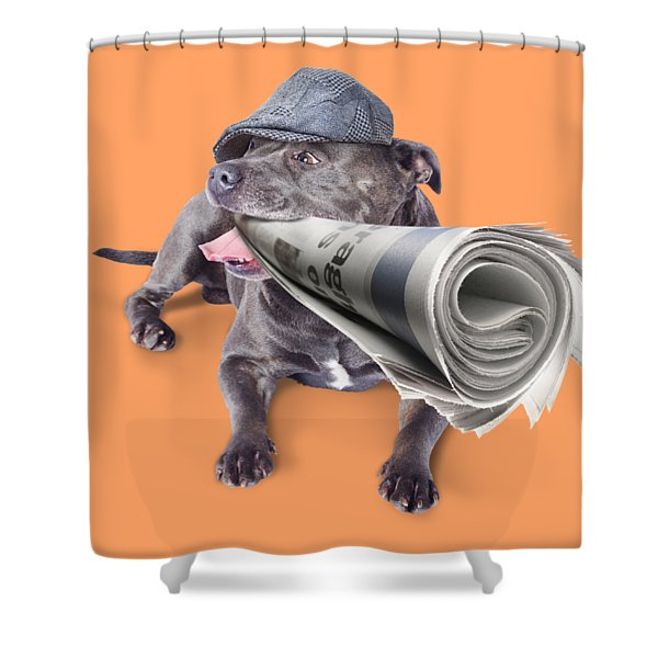 Isolated Newspaper Dog Carrying Latest News Shower Curtain
