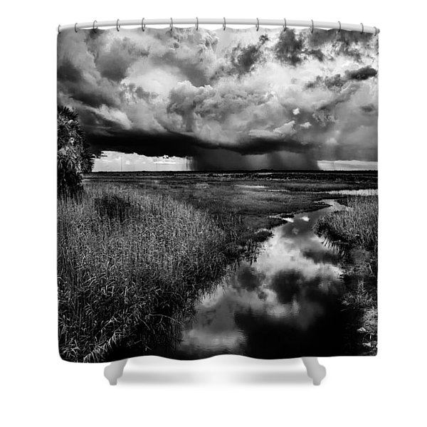 Isolated Shower - Bw Shower Curtain