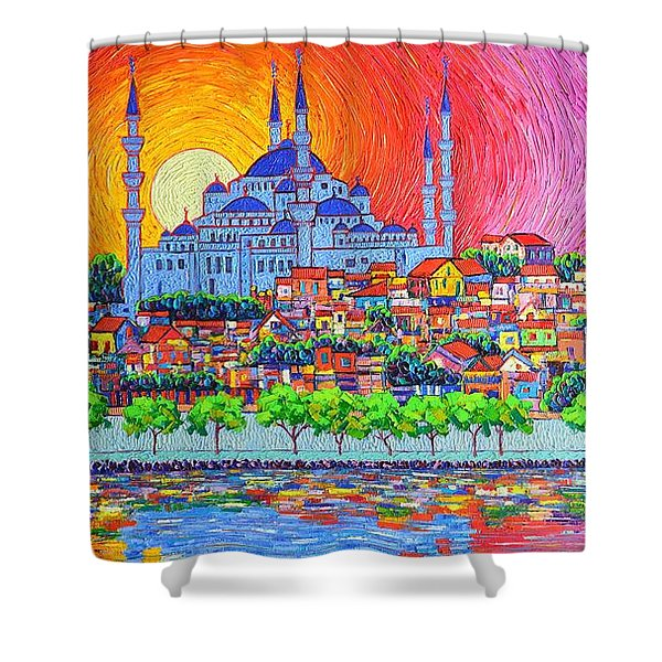 Istanbul Blue Mosque Sunset Modern Impressionist Palette Knife Oil Painting By Ana Maria Edulescu    Shower Curtain