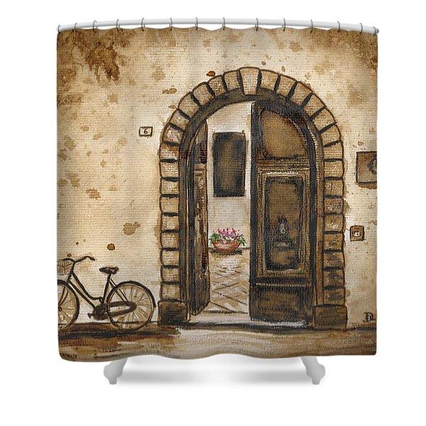 Italian Coffee Break Shower Curtain by Dianne  Ilka