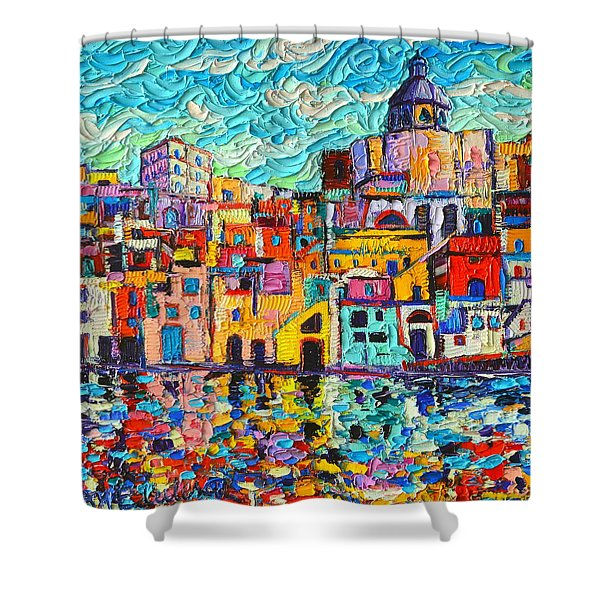 Italy Procida Island Marina Corricella Naples Bay Palette Knife Oil Painting By Ana Maria Edulescu Shower Curtain