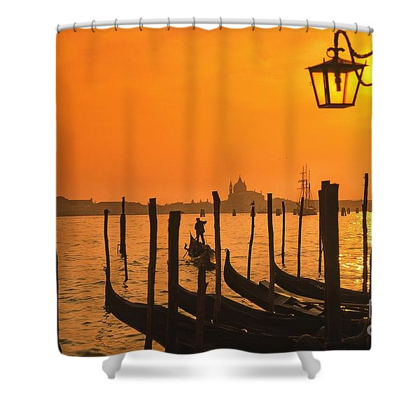 Shower Curtain featuring the photograph Italy Venice Riva Degli Schiavoni , Canale Grande Riva Degli Sch by Juergen Held