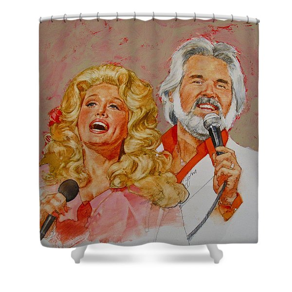 Shower Curtain featuring the painting Its Country - 8  Dolly Parton Kenny Rogers by Cliff Spohn