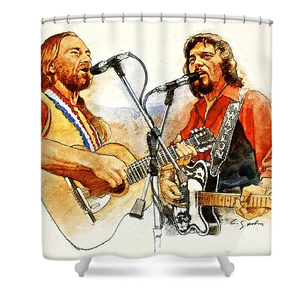 Shower Curtain featuring the painting Its Country - 7  Waylon Jennings Willie Nelson by Cliff Spohn