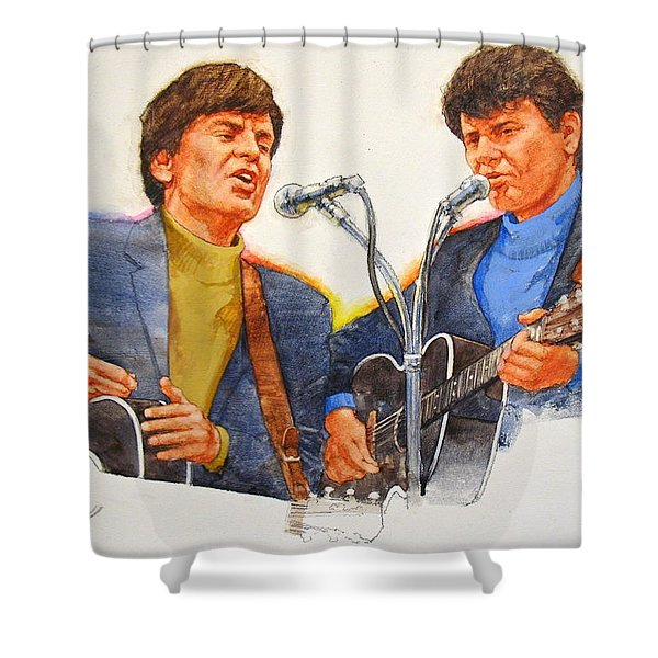 Shower Curtain featuring the painting Its Rock And Roll 4  - Everly Brothers by Cliff Spohn
