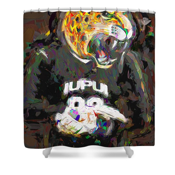 Iupui University Jaguars Soccer Goalie Painted Shower Curtain