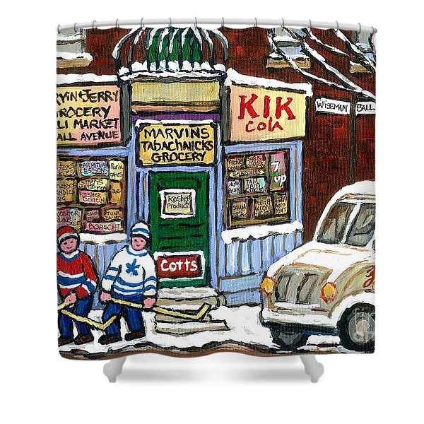 J J Joubert Vintage Milk Truck At Marvin's Grocery Montreal Memories Street Hockey Best Hockey Art Shower Curtain
