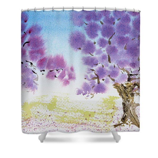 Jacaranda Trees Blooming In Buenos Aires, Argentina Shower Curtain