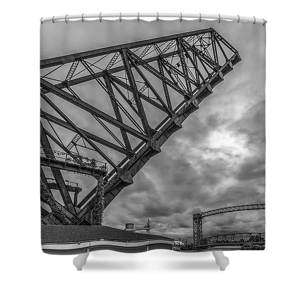 Jackknife Bridge To The Clouds B And W Shower Curtain