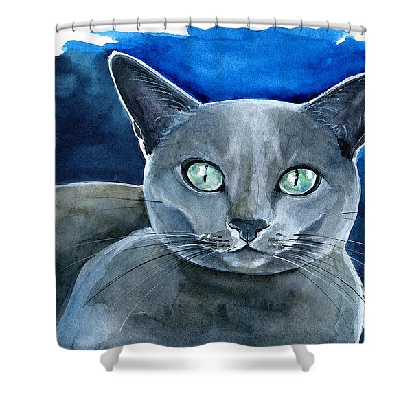 Jackpot - Russian Blue Cat Painting Shower Curtain