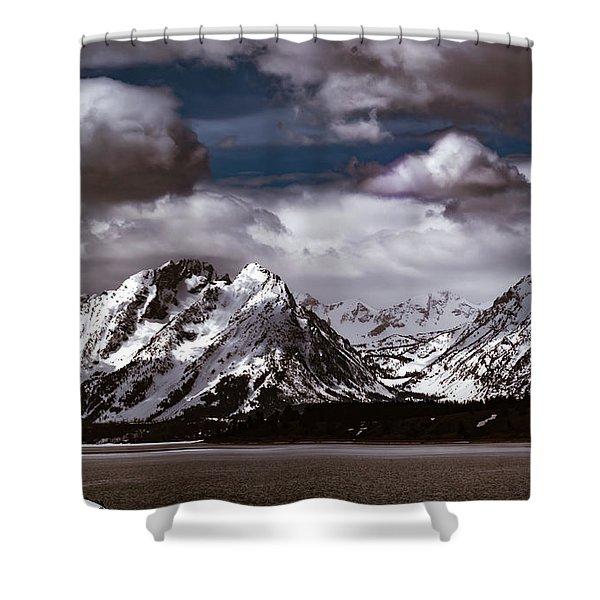 Jackson Lake Peaks Shower Curtain