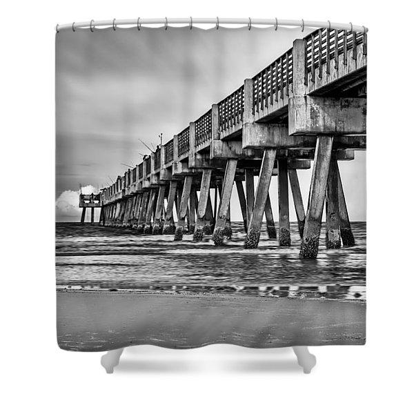 Jacksonville Beach Pier In Black And White Shower Curtain