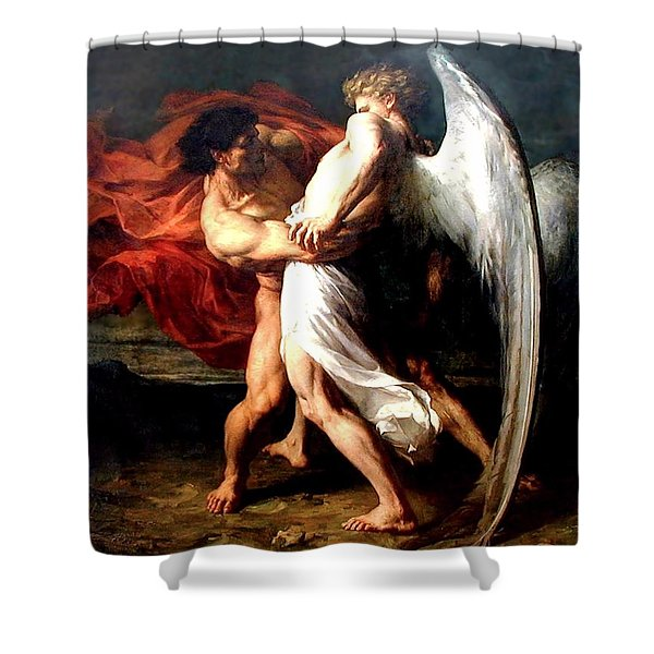 Jacob Wrestling With The Angel Shower Curtain