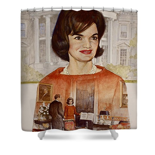 Shower Curtain featuring the painting Jacqueline Kennedy Onassis  by Cliff Spohn