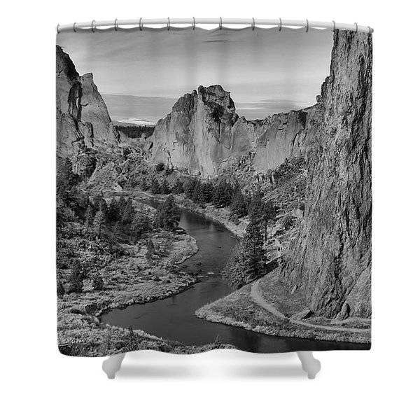 Jagged Peaks And The Crooked River Shower Curtain
