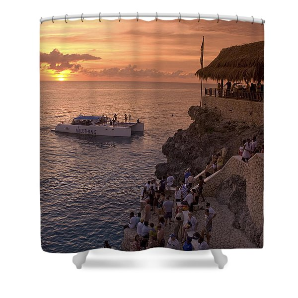 Shower Curtain featuring the photograph Jamaica Negril Ricks Cafe by Juergen Held