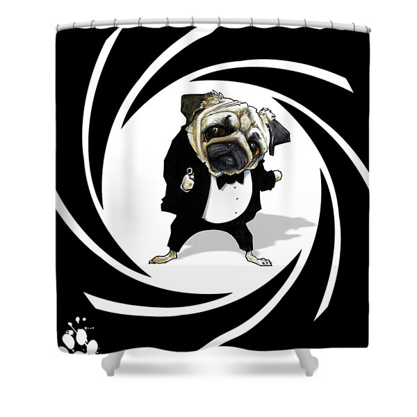 James Bond Pug Caricature Art Print Shower Curtain