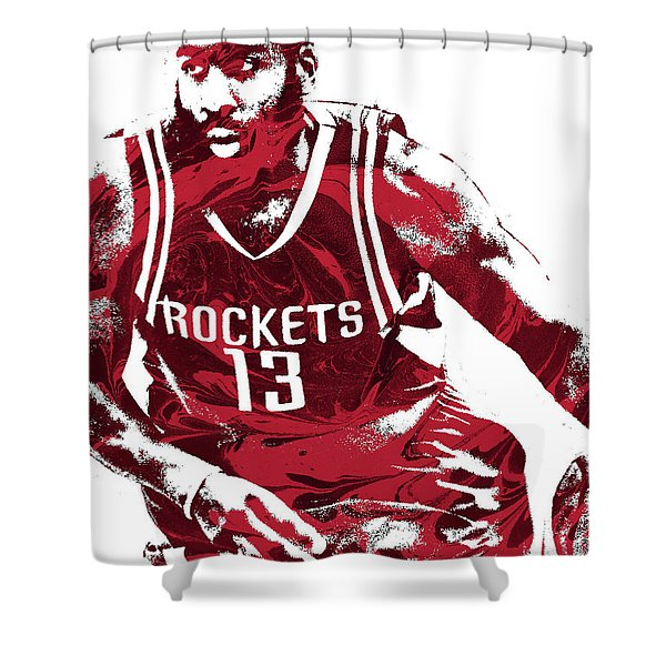 James Harden Houston Rockets Pixel Art 3 Shower Curtain