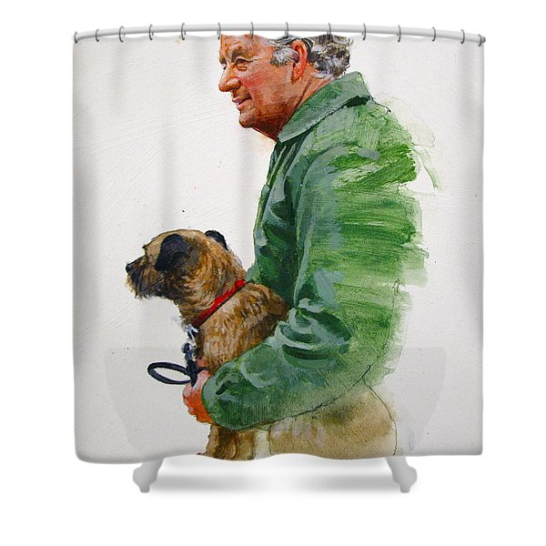 Shower Curtain featuring the painting James Herriot And Bodie by Cliff Spohn