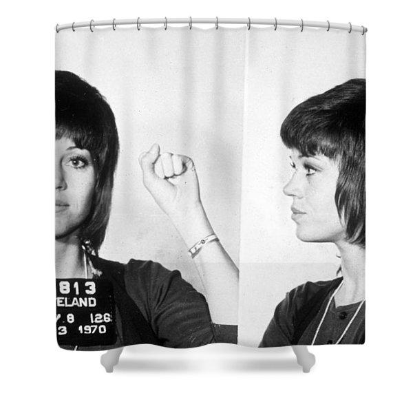 Jane Fonda Mug Shot Horizontal Shower Curtain