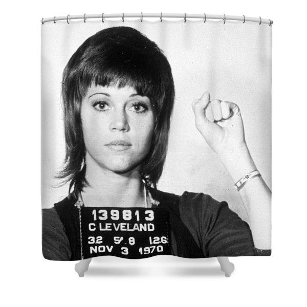 Jane Fonda Mug Shot Vertical Shower Curtain