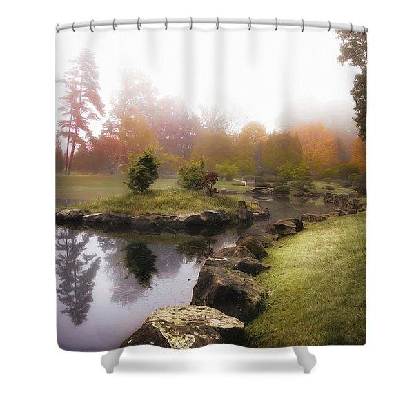 Japanese Garden In Early Autumn Fog Shower Curtain