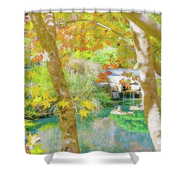 Japanese Garden Pond Shower Curtain