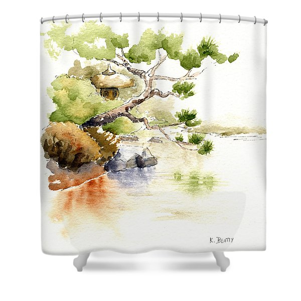 Japanese Garden Pond Sketch Shower Curtain