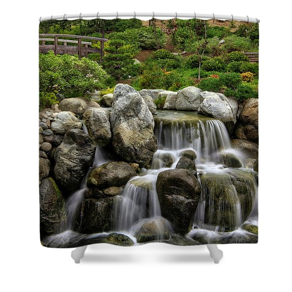 Japanese Garden Waterfalls Shower Curtain