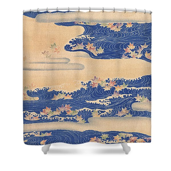 Japanese Style River And Cloud Modern Interior Art Painting. Shower Curtain
