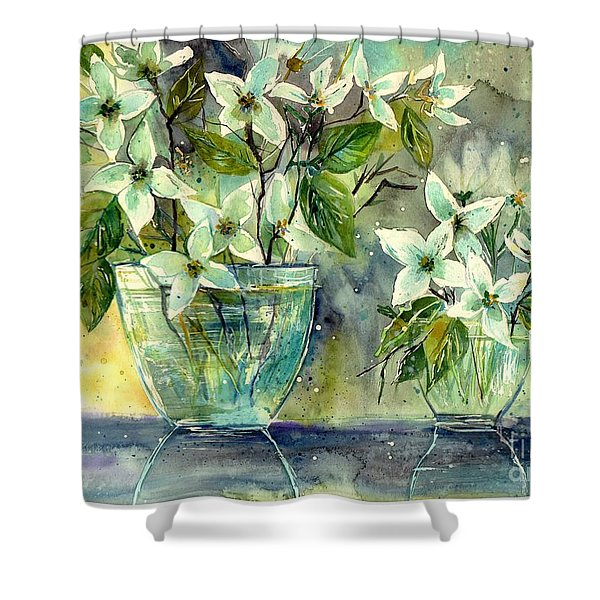 Jasmine In Glass Shower Curtain