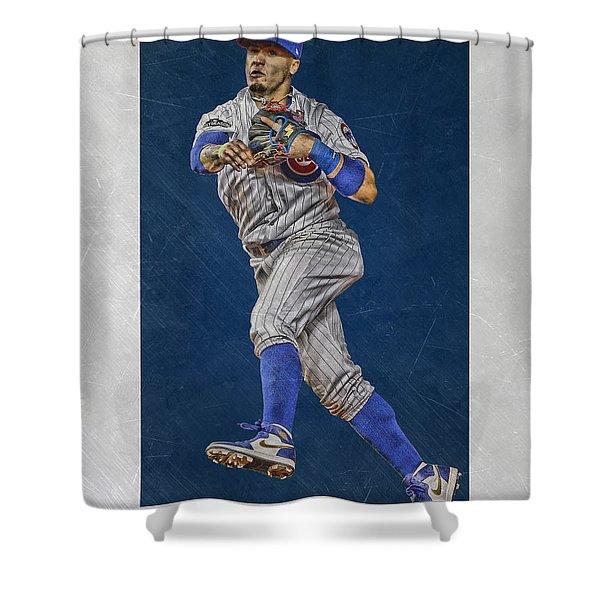 Javier Baez Chicago Cubs Art Shower Curtain