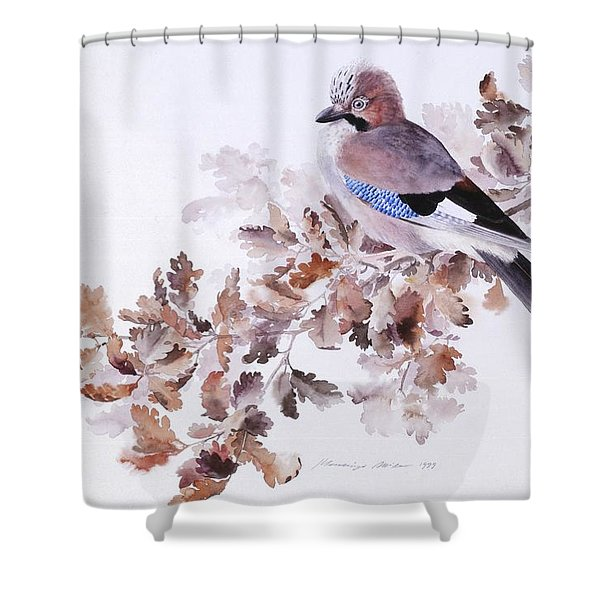 Jay On A Dried Oak Branch Shower Curtain