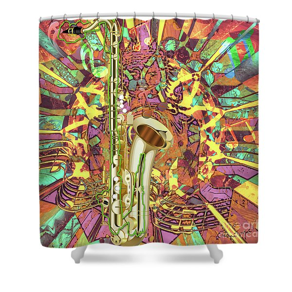Shower Curtain featuring the digital art Jazz Me Up by Eleni Mac Synodinos