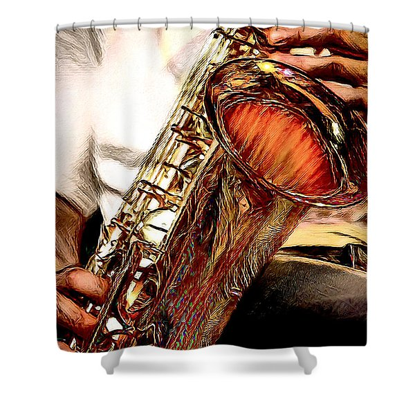 Jazzy Sax Shower Curtain