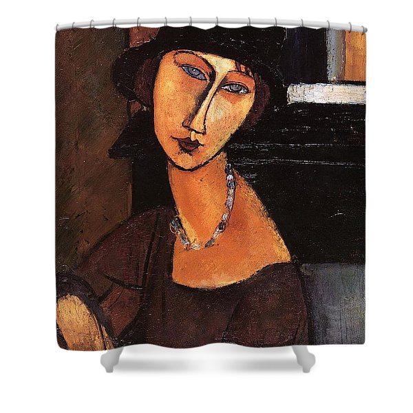 Jeanne Hebuterne With Hat And Necklace Shower Curtain