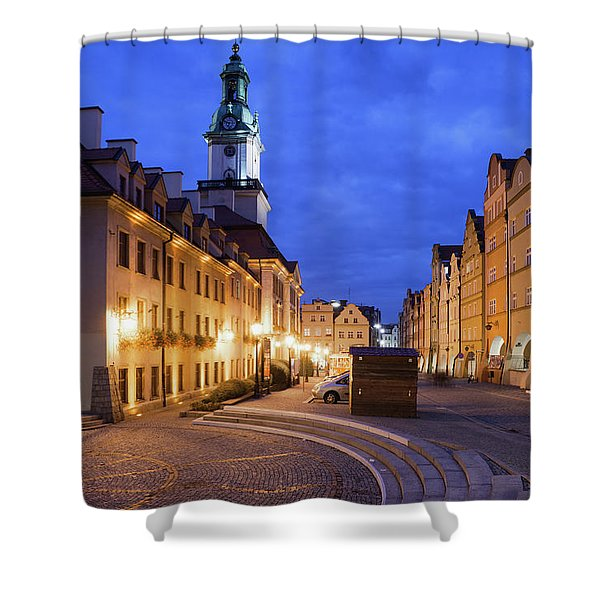 Jelenia Gora Old Town By Night In Poland Shower Curtain